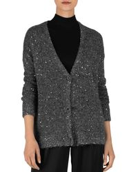 ATM Sequin V - Neck Cardigan - Gray