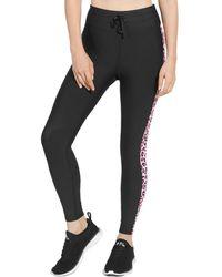Aqua Athletic Printed Stripe Knit Leggings - Black