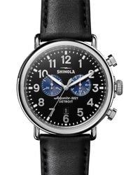 Shinola Runwell Chronograph Stainless Steel & Leather-strap Watch - Black