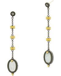 Freida Rothman - Imperial Mother-of-pearl Linear Drop Earrings In Black Rhodium-plated Sterling Silver & 14k Gold-plated Sterling Silver - Lyst