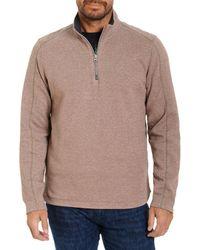 Robert Graham Lindell Cotton Blend Classic Fit Quarter Zip Mock Neck Sweatshirt - Multicolour