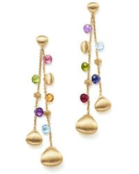 Marco Bicego - 18k Yellow Gold Paradise Teardrop Long Double Strand Gemstone Earrings - Lyst