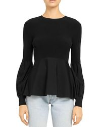 Theory Blouson - Sleeve Flared Hem Sweater - Black