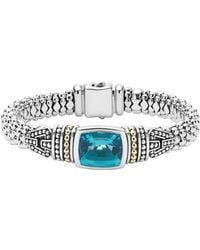 Lagos - 18k Gold And Sterling Silver Caviar Color Bezel Bracelet With London Blue Topaz - Lyst