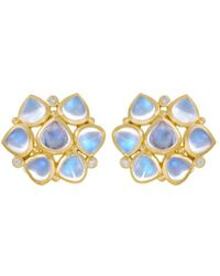 Temple St. Clair - 18k Yellow Gold Small Cluster Earrings With Royal Blue Moonstone And Diamonds - Lyst