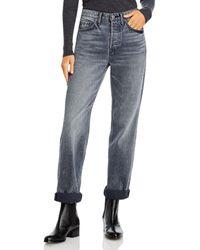 GRLFRND Mica Cuffed Straight Leg Jeans In Black Smoke