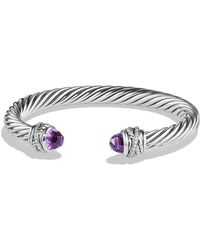 David Yurman - Crossover Bracelet With Diamonds And Amethyst In Silver - Lyst