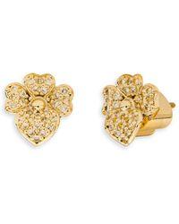 Kate Spade Pavé Flower Stud Earrings - Metallic