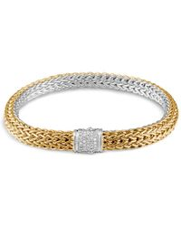John Hardy Classic Chain Sterling Silver And 18k Bonded Gold Medium Reversible Bracelet With Pavé Diamonds - Metallic