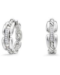 David Yurman - Diamonds & Sterling Silver Pave Chain Hoop Earrings - Lyst
