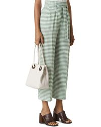 Whistles Belted Gingham Trousers - Green