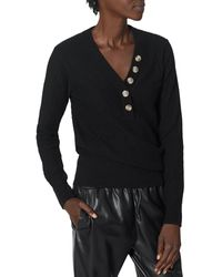 Joie Mychal Ribbed Button Sweater - Black