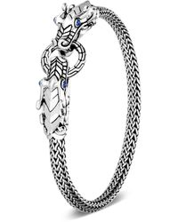 John Hardy Sterling Silver Legends Naga Blue Sapphire Double Dragon Chain Bracelet - Metallic