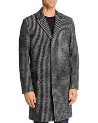 Theory Regular Fit Suffolk Boucle Jacquard Coat - Black