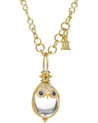 Temple St. Clair - 18k Owl Pendant With Blue Sapphire & Diamond Pavé - Lyst
