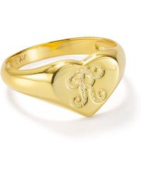Argento Vivo Signet Ring In 18k Gold - Plated Sterling Silver - Metallic