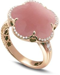 Pasquale Bruni 18k Rose Gold Bon Ton Floral Dark Pink Chalcedony & Diamond Ring