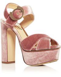 451eee6e1e9e2 Charlotte Olympia - Women s Catbuck Velvet High-heel Platform Sandals - Lyst