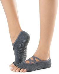 ToeSox Elle Half Toe Grip Yoga Socks - Grey