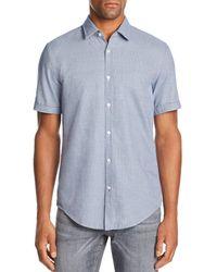 BOSS - Ronn Short-sleeve Micro-grid-print Slim Fit Shirt - Lyst