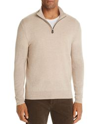 Bloomingdale's Cashmere Half - Zip Sweater - Natural