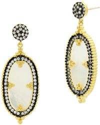 Freida Rothman - Imperial Oval Drop Earrings In Black Rhodium-plated Sterling Silver & 14k Gold-plated Sterling Silver - Lyst