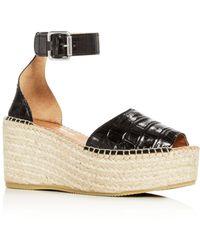 Andre Assous Women's Luz Croc - Embossed Espadrille Platform Sandals - Black