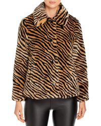 Kate Spade Zebra Print Faux Fur Coat - Brown