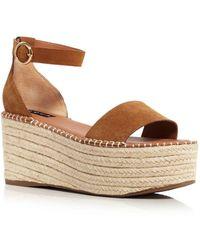 Aqua Women's Ria Suede Espadrille Platform Sandals - Brown