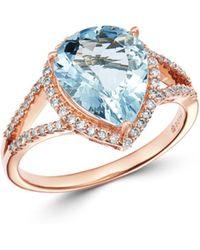 Bloomingdale's Pear - Shaped Aquamarine & Diamond Ring In 14k Rose Gold - Metallic