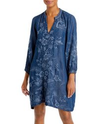 Johnny Was Kairi Embroidered Chambray Dress - Blue
