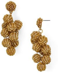 Aqua - Beaded Cluster Drop Earrings - Lyst