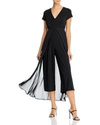 Adrianna Papell Pintucked Jumpsuit With Overlay - Black