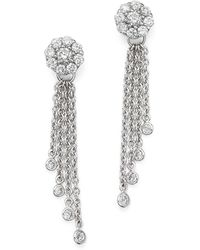 Bloomingdale's - Diamond Cluster Tassel Earrings In 14k White Gold, .45 Ct. T.w. - Lyst