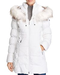 Laundry by Shelli Segal Faux Fur Trim Puffer Coat - White
