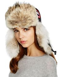 Canada Goose Coyote Fur Aviator Hat - Black