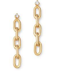 Zoe Chicco 14k Yellow Gold Diamond Chain Link Drop Earrings - Metallic