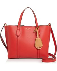 Tory Burch Perry Small Colorblock Tote Bag - Red