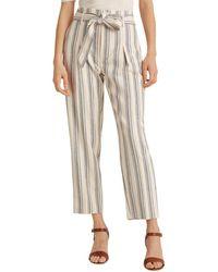 Ralph Lauren Lauren Pinstriped Cropped Straight Pants - White
