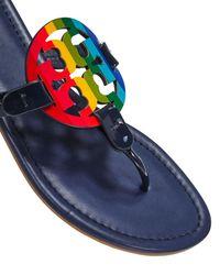Tory Burch Miller Rainbow Flat Sandals - Blue