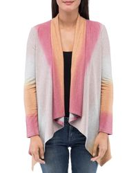 B Collection By Bobeau Amie Dip - Dyed Open Front Cardigan - Pink