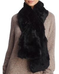 Surell Pieced Rabbit Fur Scarf - Black