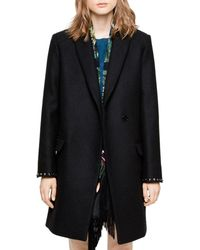 Zadig & Voltaire Marco Studded-cuff Coat - Black