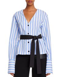Yigal Azrouël Belted & Striped Cotton V - Neck Shirt - Blue