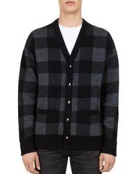The Kooples - Buffalo-check Merino Wool Cardigan Sweater - Lyst