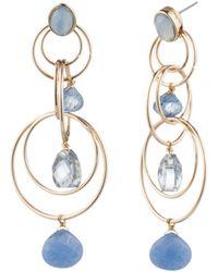 Aqua - Floating Stone Link Chandelier Earrings - Lyst
