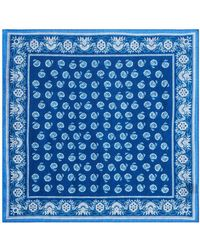 Bloomingdale's Paisley & Floral Pocket Square - Blue