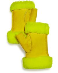 Maison Fabre Shearling Fingerless Gloves - Yellow