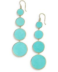 Ippolita 18k Yellow Gold Rock Candy® Turquoise Snowman Drop Earrings - Blue