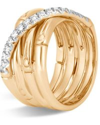 John Hardy - Band Ring With Diamonds - Lyst